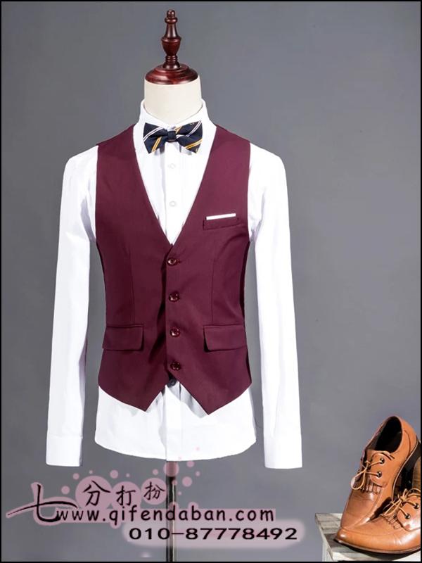 酒红马甲衬衣西裤领结